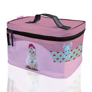 Teo Jasmin Cat Lovers Travel Vanity Case Toiletry Large Make up Bag Rockabilly