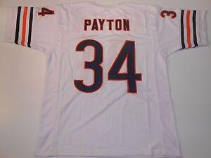 UNSIGNED CUSTOM Sewn Stitched Walter Payton White Jersey - M, L, XL, 2XL, 3XL