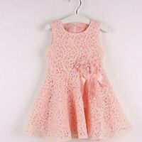 Baby Girls Kids Full Lace Floral One Piece Dress Child Princess Party Dress