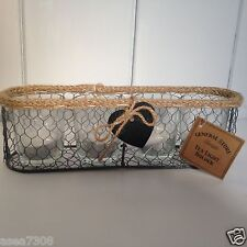 Rustic Tealight Holder set of 4 in a Chicken Wire Basket