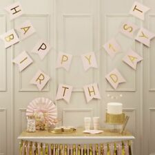 HAPPY 1ST BIRTHDAY Bunting Banner Gold Pink 3m Party Garland Decoration Flags