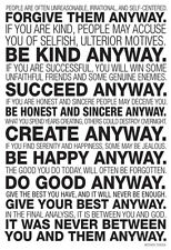 Mother Teresa Anyway Quote Collections Poster Print, 24x36