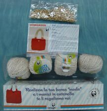 Kit borsa fatto a mano hobby aguglieria  GOMITOLI cotone lana filati Col PANNA