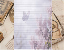 Butterfly & Lilacs Lined Stationery Writing Paper Set, 25 sheets & 10 envelopes