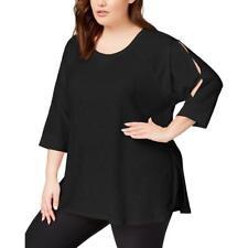 Top Calvin Klein NWT 1X Black Keyhole Sleeve Curve Hem Sweatshirt T Knit ZA121