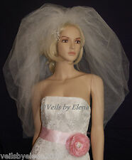 "Wedding Veil Bubble Full Puffy Bouffant 108""Width 2Tiers 30"" 33"" Length Crystals"