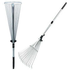 More details for dual telescopic metal garden leaf rake gardening tools extendable up to 134cm