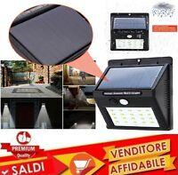 Luce 20 LED + sensore pannello solare ricaricabile senza fili GIARDINO ESTERNO