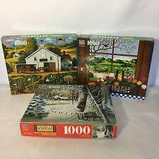 3 MB Charles Wysocki Puzzles 1000 Piece Lot Christmas Cardinal Jigsaw