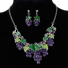 Fashion Jewelry Grape Chain Pendant Women Lady Choker Bib Necklace Set Earrings