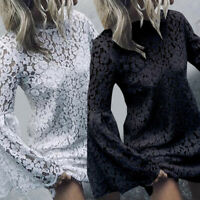 Womens Summer Casual Long Sleeve Lace Floral Dress Party Beach Loose Mini Dress