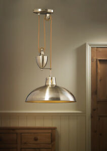 Rise & Fall Ceiling Light Pendant Pull Down Fitting Brass/Nickel Finish 60W