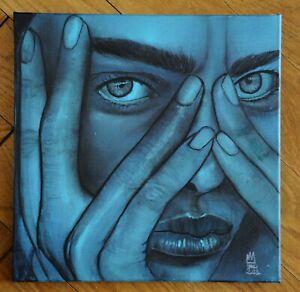 Peinture sur toile 30*30cm, numéro 3 série Lil Blue signée UMO MASADA