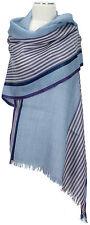 Wollschal Blau Lila Violett Schal Streifen Wolle / Seide unisex wool scarf blue