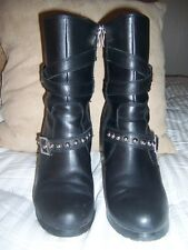 Women's  Embellished Black Leather Boots Sz 10