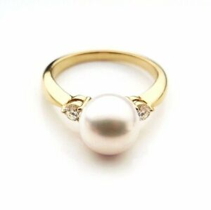 AAA+ 8.6mm White Real Japanese Akoya Pearl Diamond Ring 18k Solid Yellow Gold