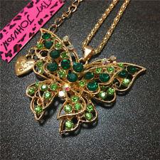 Green Rhinestone Cute Butterfly Animal Betsey Johnson Pendant Chain Necklace
