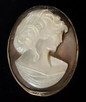 Silver & carved mother of pearl cameo vintage Victorian antique maiden brooch
