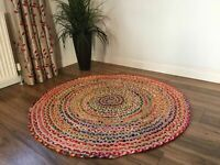 Handmade Indian Jut Rug Round 5 ft Door mat Jute and Cotton Floor Carpet Runner