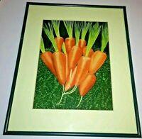 Original Watercolor Carrots Painting Garden Art Kitchen Realism Vegetables VTG