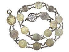 Münz Gürtel um 1888 mit 17 Münzen mit Monogramm und Adels Kronen 900 Silber
