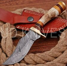 8 INCH UD CUSTOM DAMASCUS STEEL HUNTER KNIFE Stag/ANTLER  HANDLE B4-11529