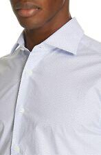 New Men's Canali Slim Fit Dot Dress Shirt, Size 18 - Blue
