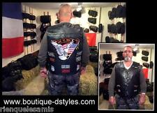 "Gilet jacket en cuir "" Aigle / Live To Ride "" - S à 7XL - Pour bikers country"