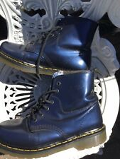 Vintage Doc Martens Over 30years Old Blue Metallic Leather 1460 Uk5/38 Stunning