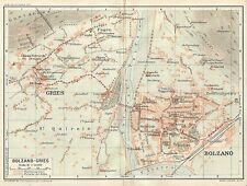 Carta geografica antica BOLZANO BOZEN Pianta della città 1920 Old antique map