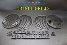 (4) 18 INCH STEEL SPEAKER SUB SUBWOOFER GRILL MESH COVER W/ CLIPS SCREWS GR-18