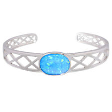 """Blue Fire Opal Silver Women Jewelry Adjustable Cuff Bangle Bracelet 6 3/4"""" OS613"""