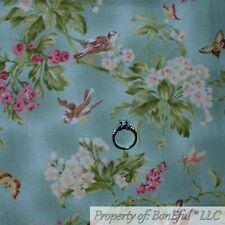BonEful FABRIC FQ Cotton Quilt Green Leaf Branch Butterfly Spring Bird Flower NR