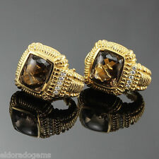 JUDITH RIPKA 0.25 CT. DIAMOND & SMOKEY TOPAZ CLIP-ON EARRINGS 18K YELLOW GOLD