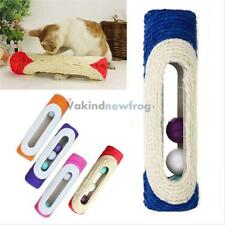 Pet Cat Kitten Kitty Toy Rolling Sisal Scratching Post 3 Trapped Ball Training V