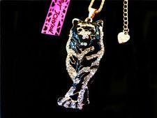 Betsey Johnson Gold Plated Black Enamel Crystal Tiger Necklace