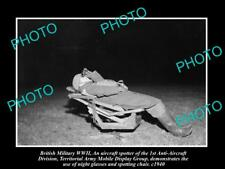 OLD LARGE HISTORIC PHOTO WWII BRITISH MILITARY ANTI AIRCRAFT SPOTTING CHAIR 1940