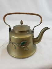 Nice small Chinese brass teapot, decorated with stones