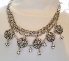 Simply Vera Wang Mod Silver Knots Layered Chains Crystal Ball Cluster Necklace