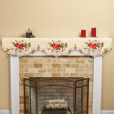 Pretty Embroidered & Cutout Poinsettia and Holly Christmas Mantel Scarf