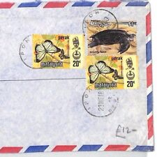 BT44 1980 Malaysia *Ipoh Perak* Registered Commercial Air Cover TURTLE BUTTERFLY