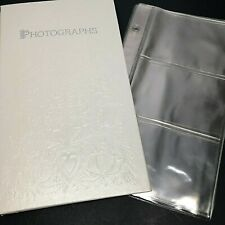 Hallmark Keepsake Photo Album White Embossed Flowers & Hearts 7 bonus pages +8