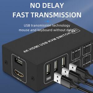 4K HDMI KVM Switch 4-Port USB HDMI KVM Switcher 4X1 Mouse & Keyboard Sharing