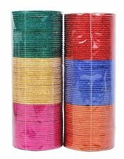 Indian Bollywood Box of 144 Plain Metal Bangles Bracelets Size 2.4,2.6,2.8,210