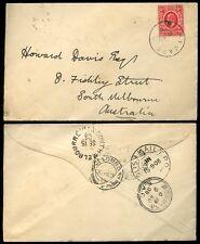 KUT EAST AFRICA KE7 1908 6c KIJABE to AUSTRALIA via ADEN + CEYLON + TPO TRANSITS