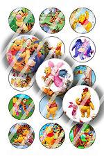 Pre-Cut Bottle Cap Images Cartoon Bear Collage Sheet R224 - 1 Inch Circle