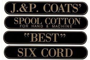 J & P COATS SPOOL CABINET LABEL 4 PIECE SET / Gold on Black  10 1/4 X 1 5/8