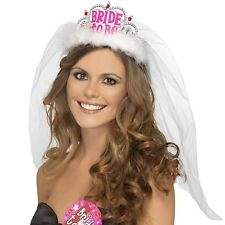 DONNA BRIDE TO BE Tiara con pizzo velo addio al nubilato accessorio