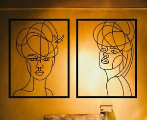 Metal Wall Art Woman Silhouette Bedroom Wall Interior Decoration 2 Items