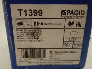 PAGID Front Brake Pads Set T1399 for Nissan Micra Range 03- Clio Twingo Note
